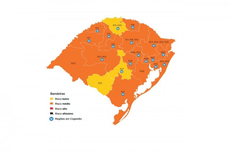 Regiões trocam de cor, e mapa preliminar permanece com três bandeiras amarelas no RS