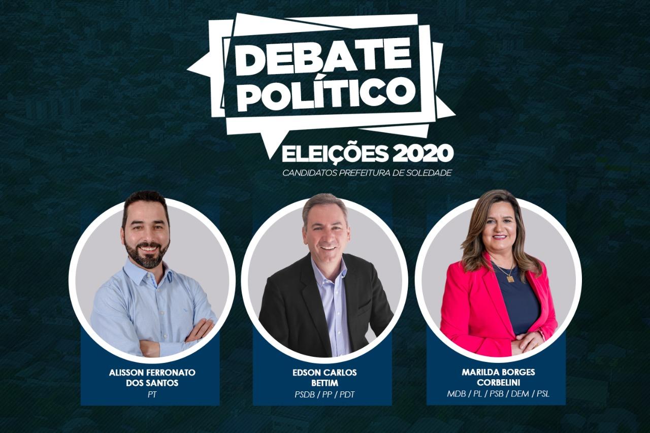 Debate com os candidatos a Prefeitura de Soledade acontece neste sábado (17)