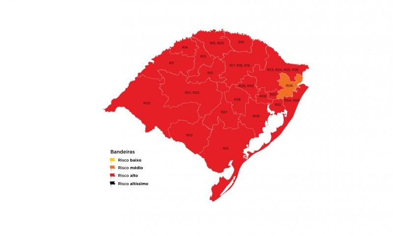 Casos ativos de coronavírus seguem altos e região de Passo Fundo permanece na bandeira vermelha