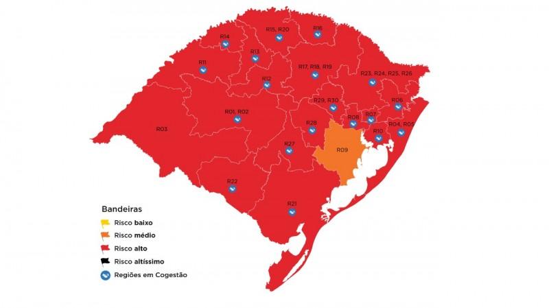 Passo Fundo permanece em bandeira vermelha no mapa definitivo do RS