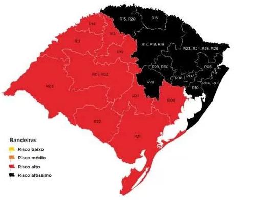 Governo do RS indefere todos os recursos e mantém mapa com bandeira preta e vermelha