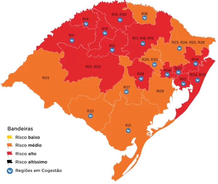RS confirma 13 regiões em bandeira vermelha no Distanciamento Controlado