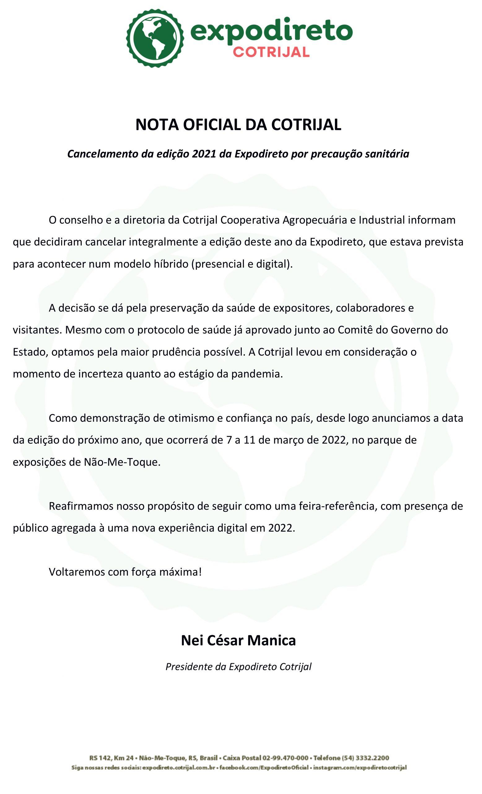 URGENTE: Expodireto 2021 está cancelada