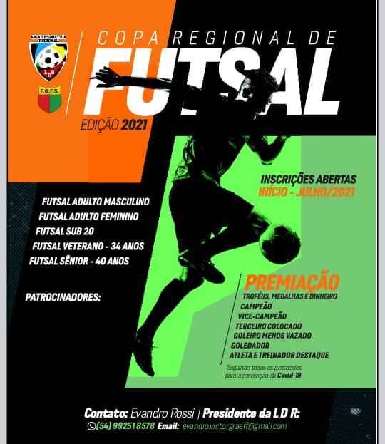 Copa Regional de Futsal tem inscrições abertas