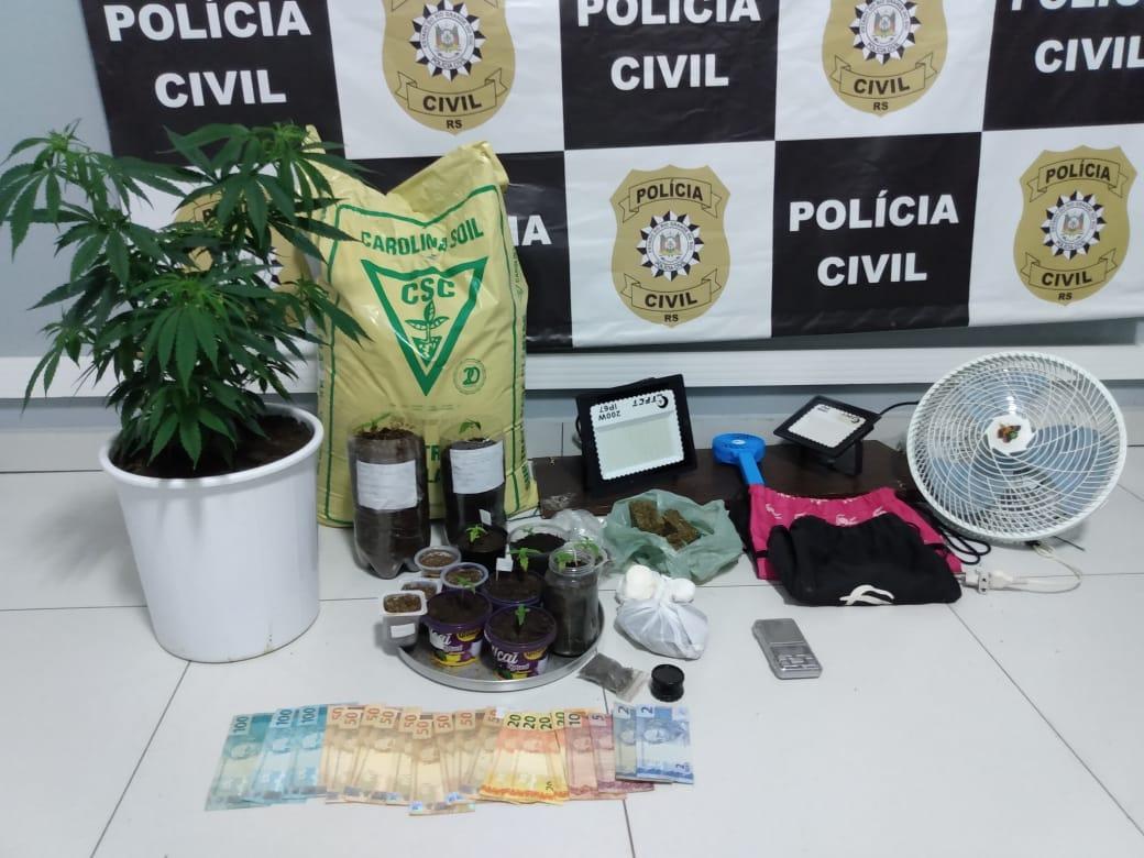 PC cumpre mandado, prende traficante e apreende drogas e maconha plantada em estufa em Não-Me-Toque