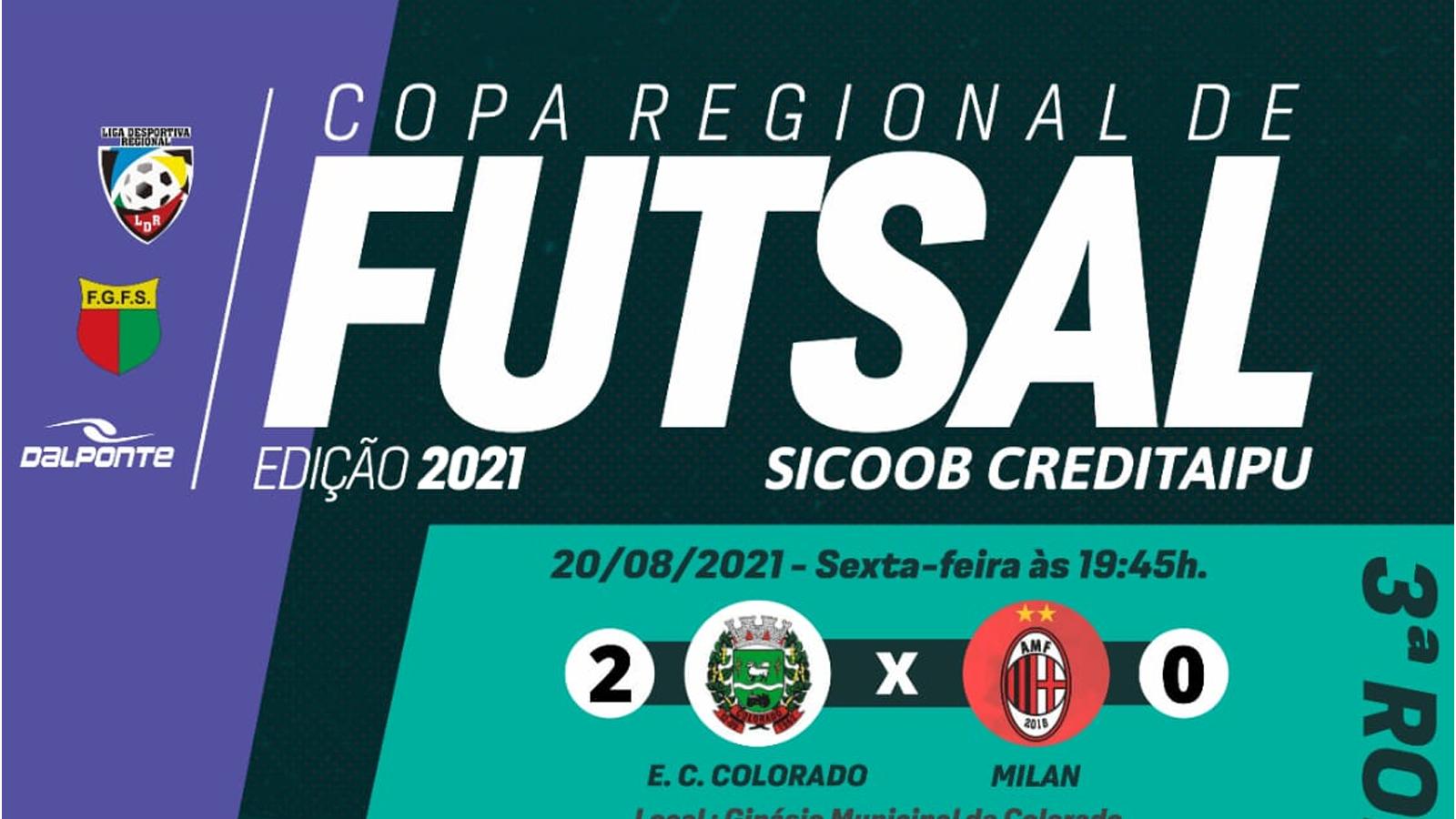 Confira resultados e classificação após a 3ª rodada da Copa Regional de Futsal