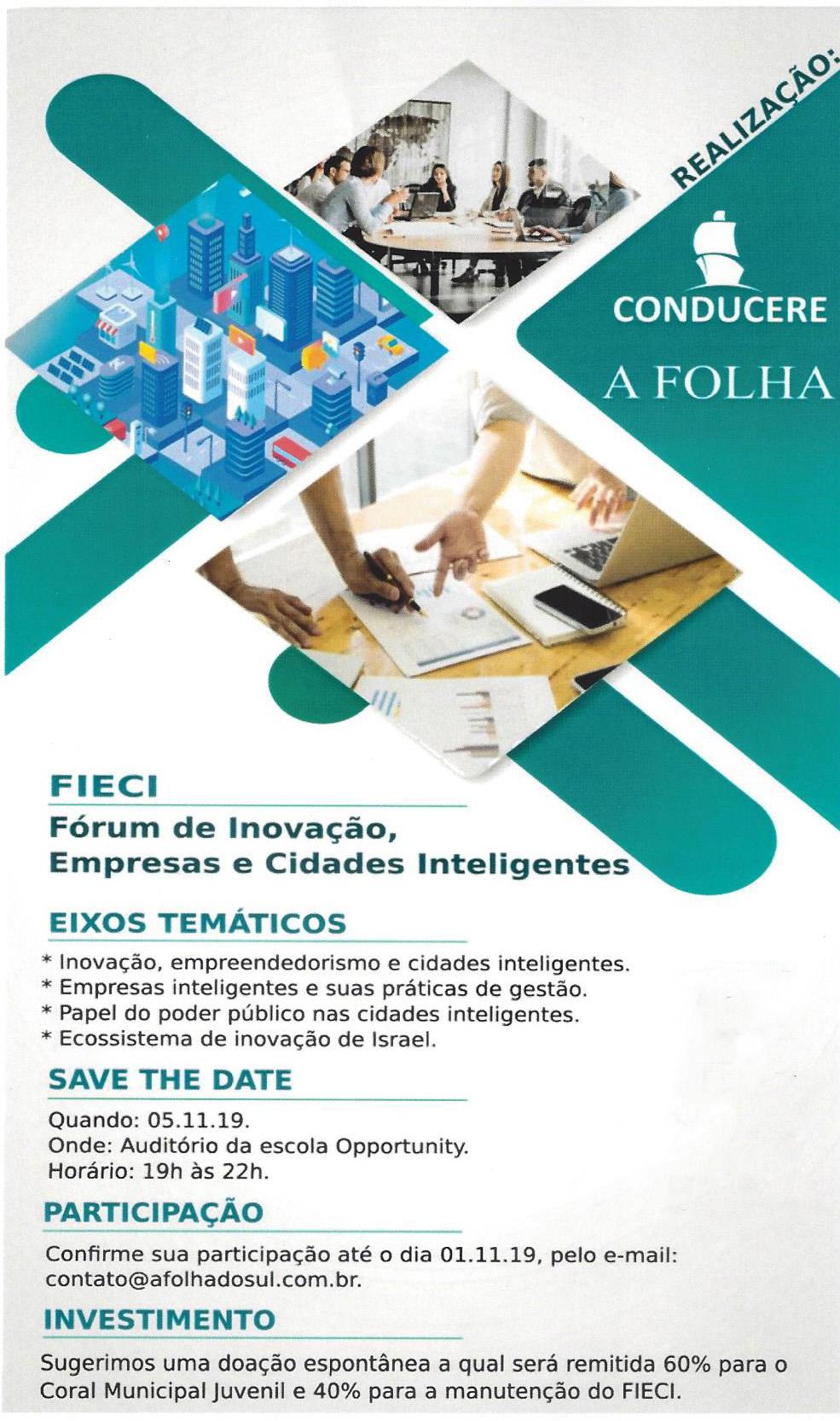 Jornal A Folha e Conducere promovem Fórum de Inovação Empresas e Cidades Inteligentes