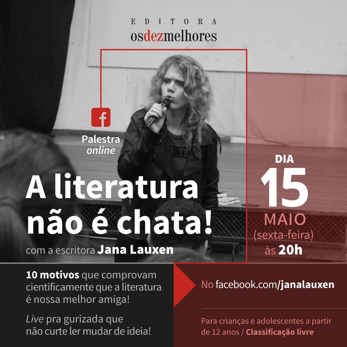 """Em live escritora Jana Lauxen vai falar sobre """"Literatura não é chata"""""""