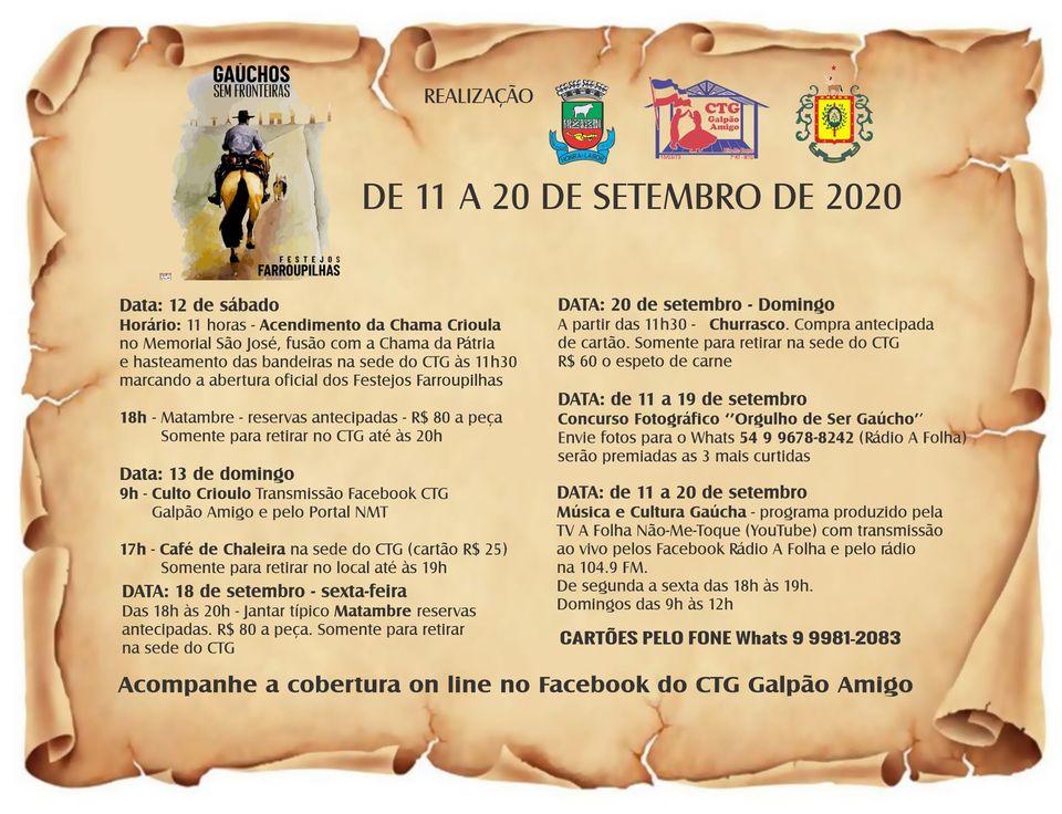 Acendimento da Chama Crioula e abertura dos Festejos Farroupilhas será neste sábado em Não-Me-Toque
