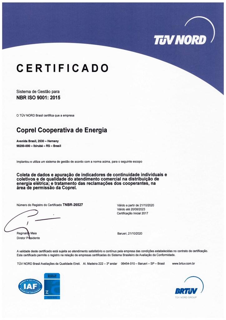 Coprel recebe certificação ISO 9001:2015