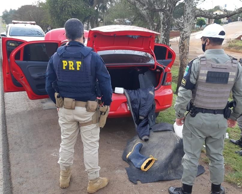 Ação conjunta entre BM e PRF termina com homem preso por tráfico de drogas em Santo Antônio do Planalto