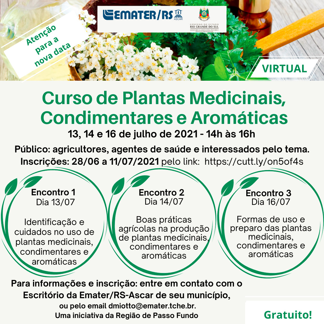 Inscrições abertas para Curso de Plantas Medicinais, Condimentares e Aromáticas