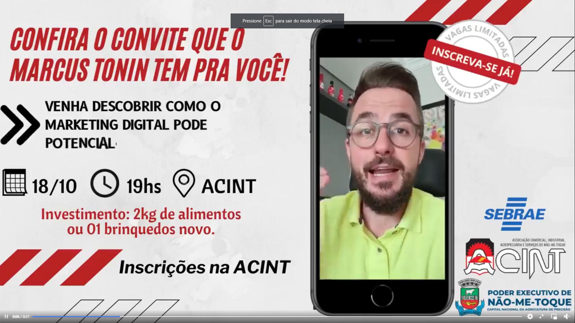Acint traz Marketeiro Confesso Marcus Tonin para falar com empreendedores